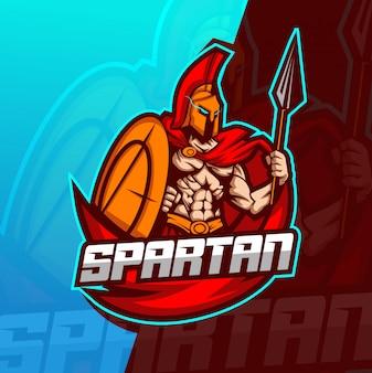 Modèle de logo esport mascotte spartiate