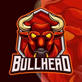 Modèle de logo esport mascotte tête de taureau