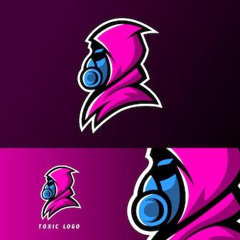 Modèle de logo esport de masque de sport toxique avec jeu cloack
