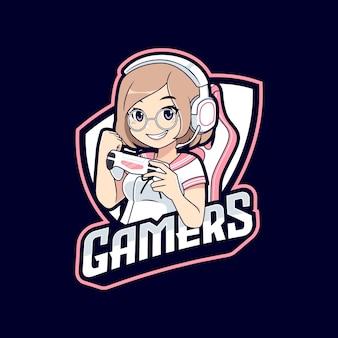 Modèle de logo esport de personnage de gamer anime kawaii