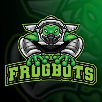Modèle de logo esport robot frog
