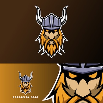 Modèle de logo esport sport casque mascotte barbare