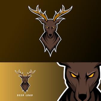 Modèle de logo esport sport cerf en colère avec corne longue