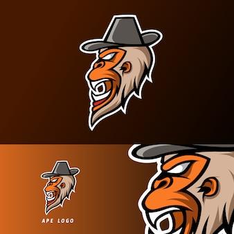 Modèle de logo esport sport gorille singe en colère avec jeu de barbe et chapeau