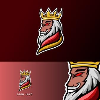 Modèle de logo esport sport roi seigneur avec armure, couronne, barbe et moustache épaisse