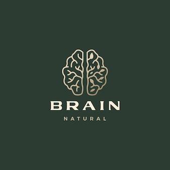 Modèle de logo esthétique sophistiqué de feuille de cerveau