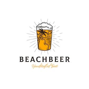 Modèle de logo d'été de bière fraîche