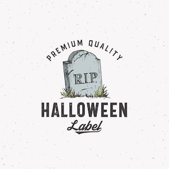 Modèle de logo ou d'étiquette halloween de style vintage premium. symbole de croquis de pierre tombale dessiné à la main et typographie rétro. fond de texture minable.