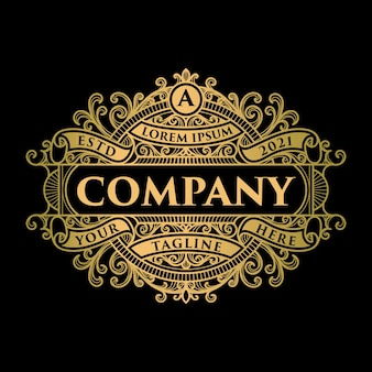 Modèle de logo et étiquette or vintage