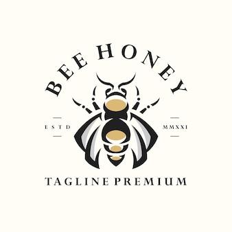 Modèle de logo d'étiquette vintage rétro hipster bee naturel