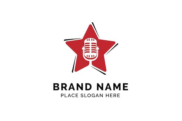 Modèle de logo d'étoile de chanteur silhouette de microphone à l'intérieur d'étoile