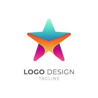 Modèle de logo étoile isolé sur blanc