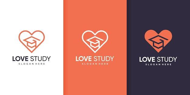 Modèle de logo d'étude d'amour avec un concept moderne vecteur premium