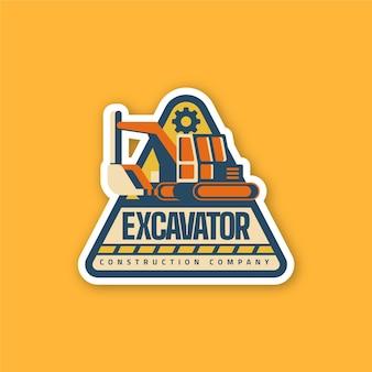 Modèle de logo d'excavatrice pour la construction