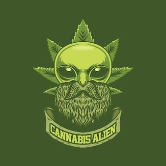 Modèle de logo extraterrestre de cannabis