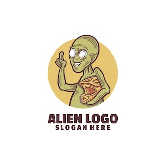 Modèle de logo extraterrestre isolé sur blanc
