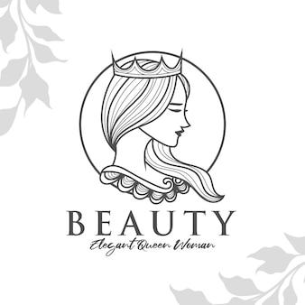 Modèle de logo femme beauté reine modifiable