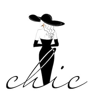 Modèle de logo femme chic de dos au chapeau
