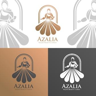Modèle de logo de femme hijab de beauté