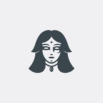 Modèle de logo de femme magicien sombre