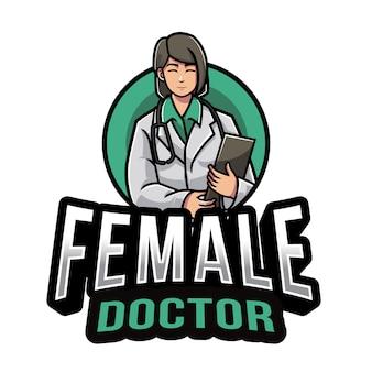 Modèle de logo de femme médecin