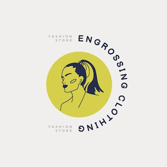 Modèle de logo femme mode dessiné à la main