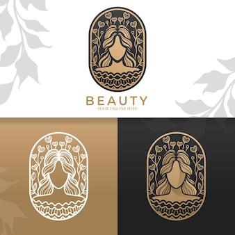 Modèle de logo de femme en or naturel