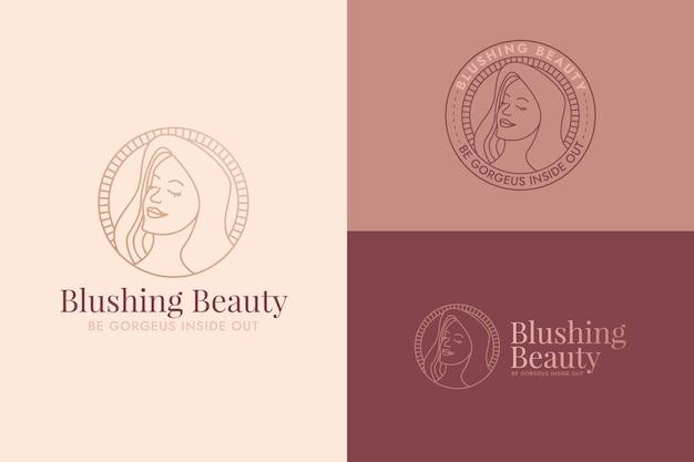 Modèle de logo femme plat linéaire