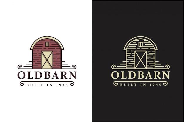 Modèle de logo de ferme grange ancienne classique rétro vintage avec design de style art en ligne
