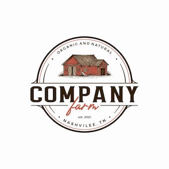Modèle de logo de ferme vintage grange dessiné à la main