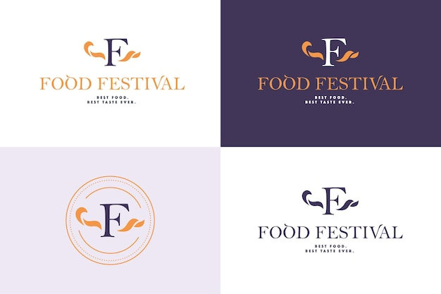 Modèle de logo de festival de nourriture de vecteur dans différentes variantes de couleur isolées. restaurant, café, restauration, conception d'emblème de service alimentaire. monogramme, conception d'emblème minimaliste.