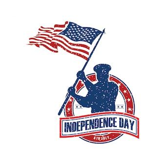 Modèle de logo fête de l'indépendance américaine