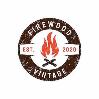 Modèle de logo de feu de camp rustique vintage
