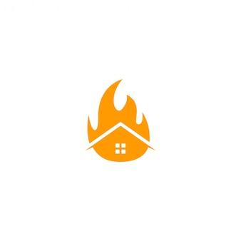 Modèle de logo de feu maison icône