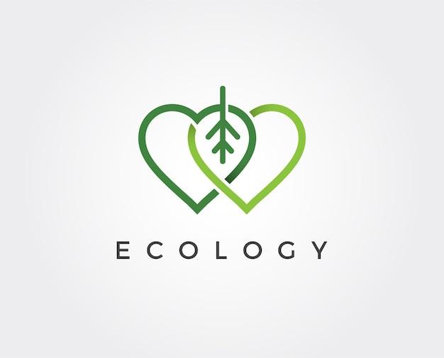 Modèle de logo de feuille d'amour minimal