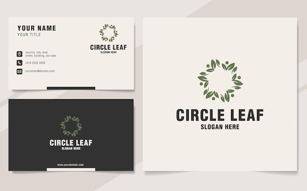 Modèle de logo de feuille de cercle sur le style monogramme