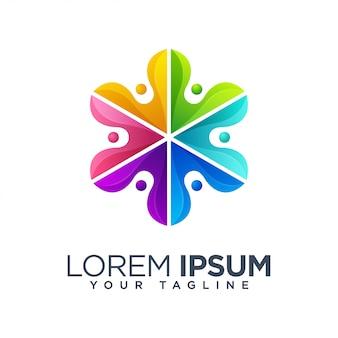Modèle de logo de feuille floral coloré