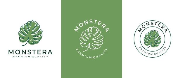 Modèle de logo de feuille de monstera pour spa, salon, soins de la peau et des cheveux