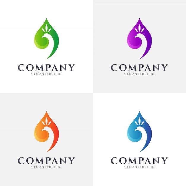 Modèle de logo de feuille de paon
