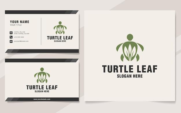 Modèle de logo de feuille de tortue sur le style monogramme