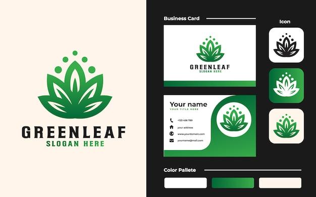 Modèle de logo de feuille verte