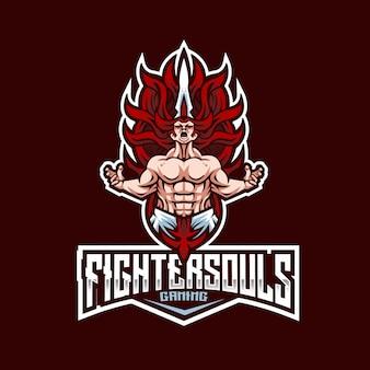 Modèle de logo fighter souls esport