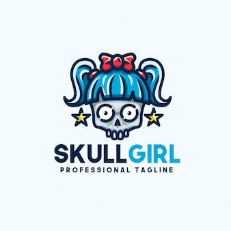 Modèle de logo de fille de crâne