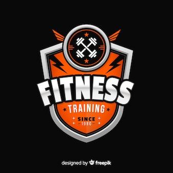 Modèle de logo fitness design plat