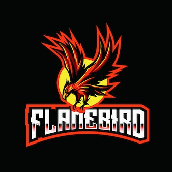 Modèle de logo flame bird esport
