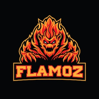 Modèle de logo flame monster esport
