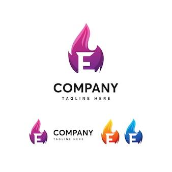 Modèle de logo flammes feu lettre e