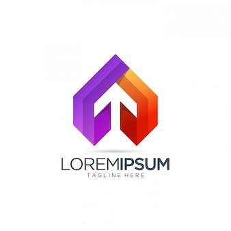 Modèle de logo de flèche abstraite