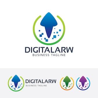 Modèle de logo de flèche numérique