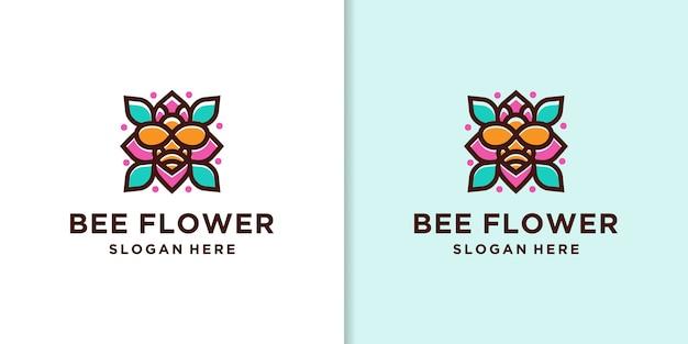 Modèle de logo de fleur d'abeille